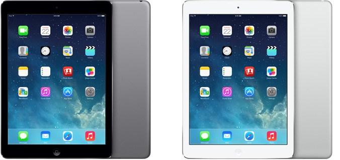 iPad Air với hai màu đen trắng