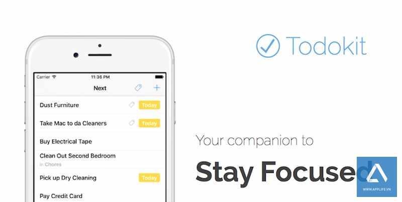 [iOS App] Đang miễn phí Todokit ứng dụng nhắc việc, lập kế hoạch, quản lý dự án