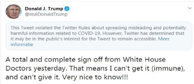 بعد قوله لدي مناعة من كورونا.. هذا ما فعله تويتر بشأن ما كتبه ترامب