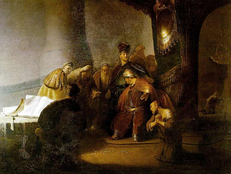 Rembrandt Harmensz. van Rijn: Judas Returns the Silver Coins