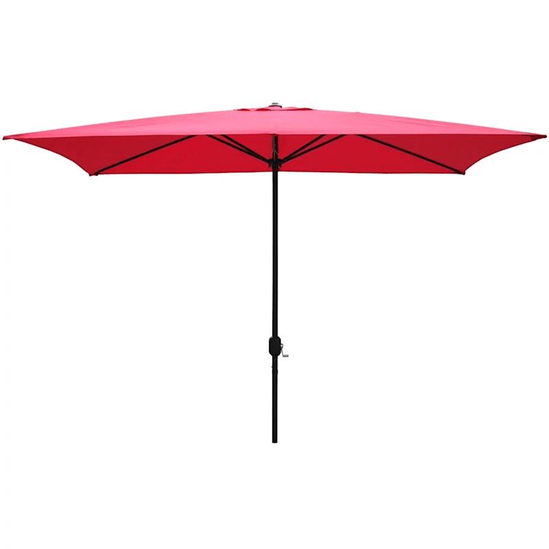 red rectangular steel outdoor umbrella