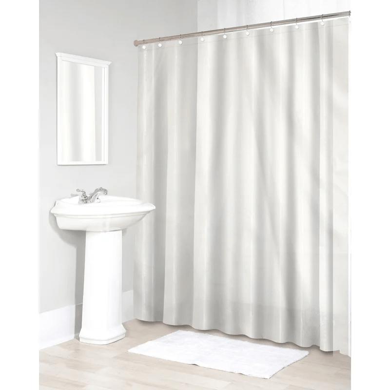 sheer white fabric shower curtain liner