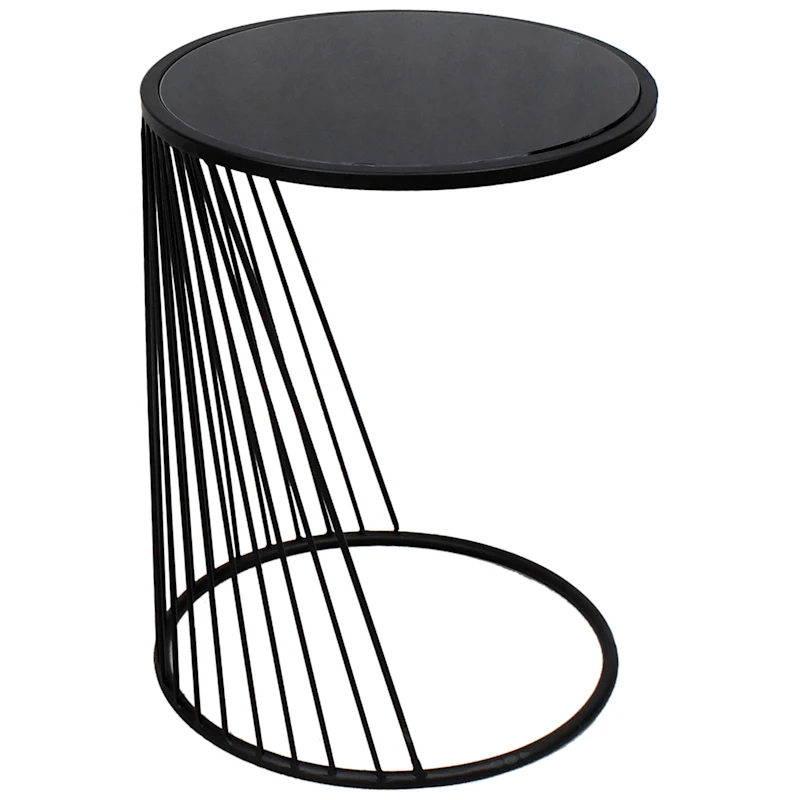 celine round glass top accent table