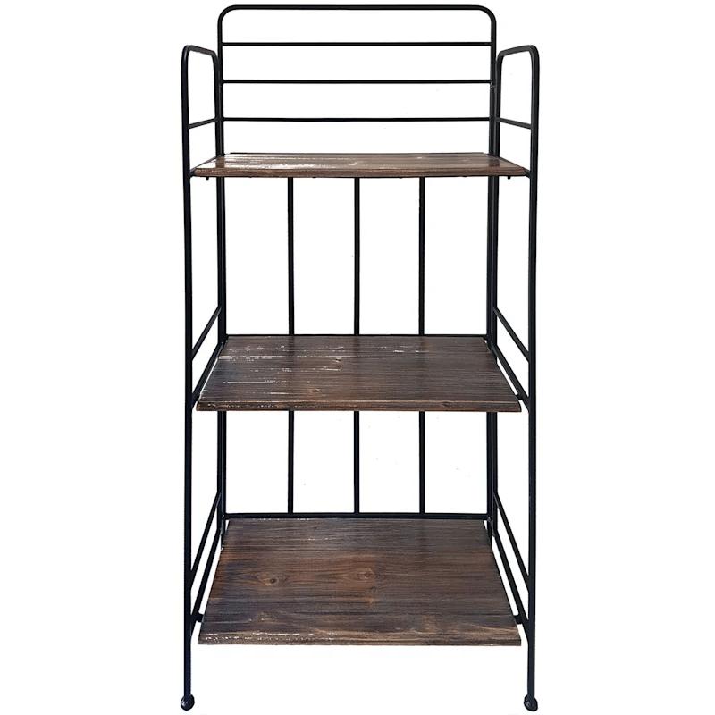 tier metal baker rack with folding wood