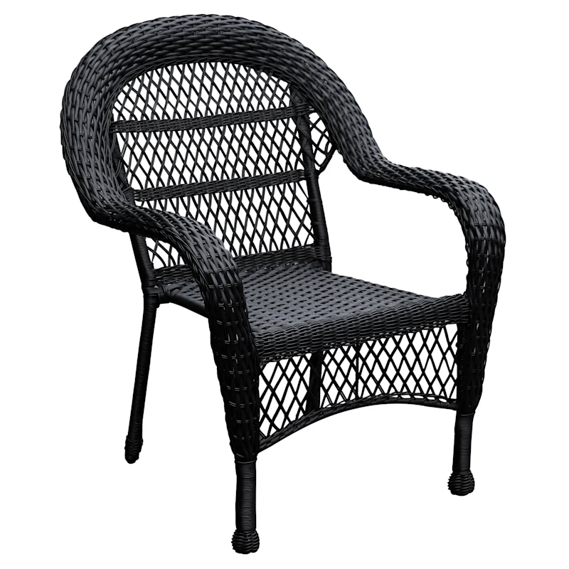 outdoor wicker chair black at home