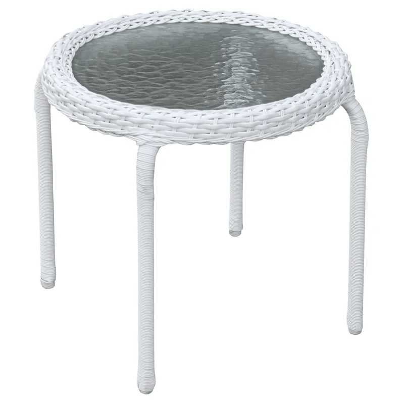 outdoor wicker tempered glass top end