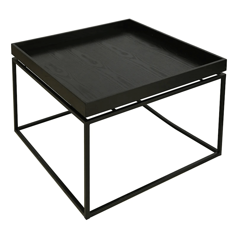 wood tray top coffee table with metal