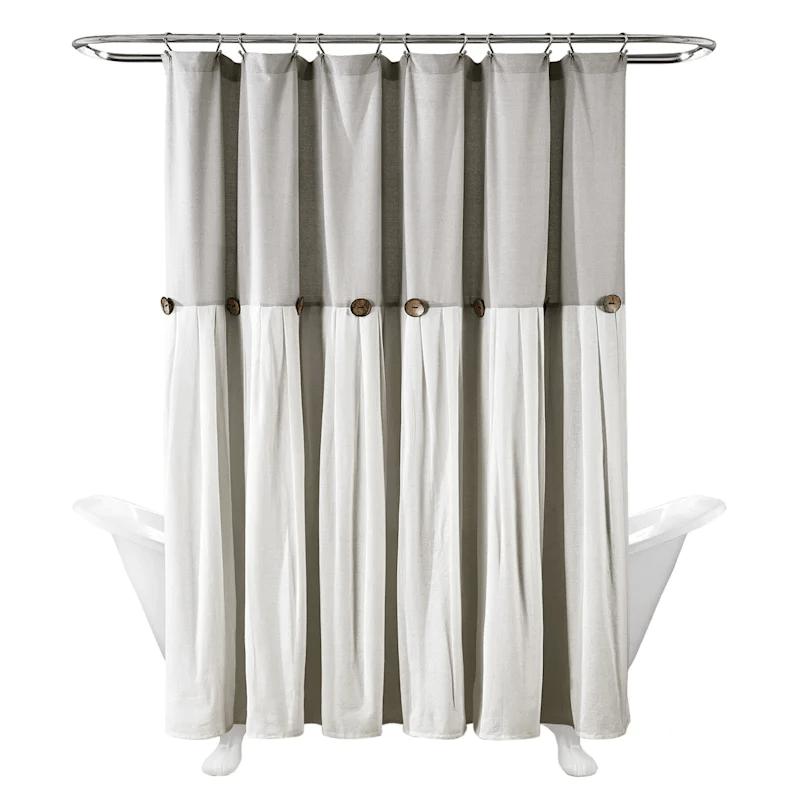 light grey faux linen pleated shower