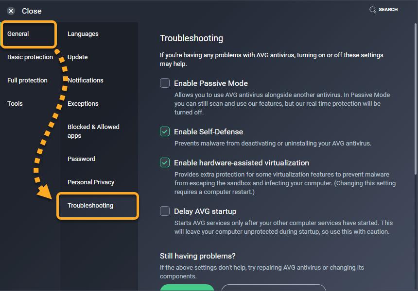 using passive mode in avg antivirus avg