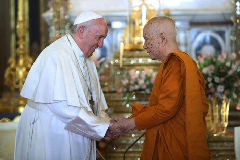 Image result for Pope francis meets Supreme Patriarch of Thailand at golden temple""