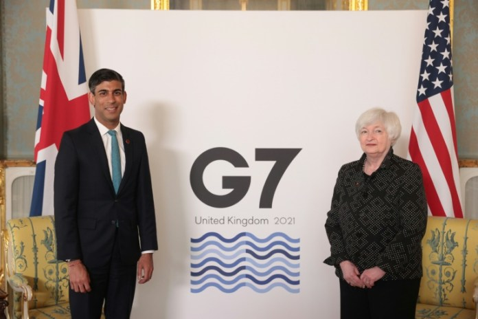 Britain's Chancellor of the Exchequer Rishi Sunak (L, with US Treasury Secretary Janet Yellen) is hosting the G7 meeting on plans for a minimum global level of corporate tax.