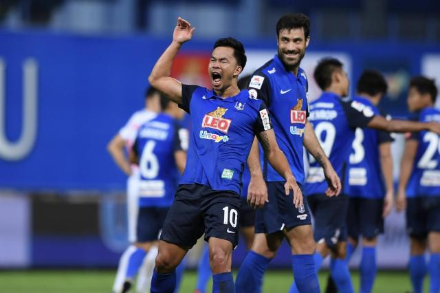 Valuable contribution: Pathum United midfielder Sumanya Purisay reacts after scoring against Chonburi.