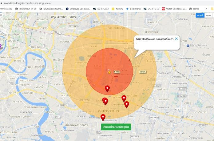 Mr Nitikorn's website shows the evacuation area within a 5km radius of the site of the explosion.