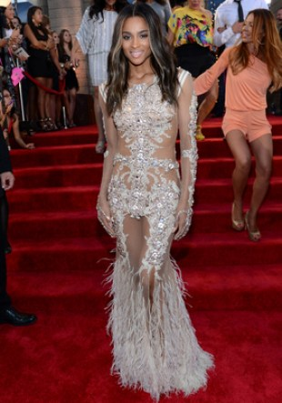 Ciara Givenchy Feathered Gown