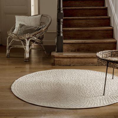 tapis rond crochet ivoire 160 cm