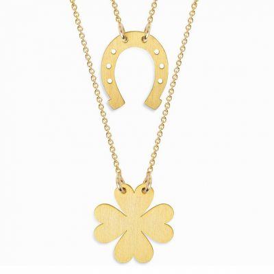 double collier chaine 60 cm pendentif twin trefle et fer a cheval vermeil dore