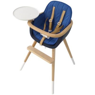 assise tissu chaise haute ovo luxe bleu