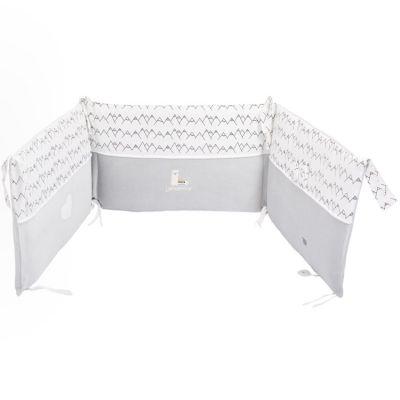 tour de lit gris lamamour pour lits 60 x 120 ou 70 x 140 cm