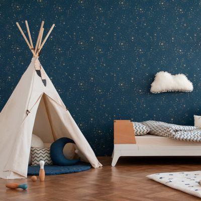 papier peint bleu nuit gold stella
