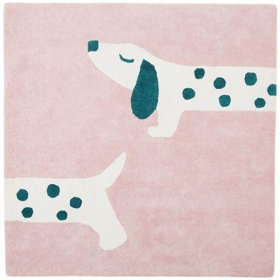 tapis carre en coton bio amy zoe chien rose 120 x 120 cm