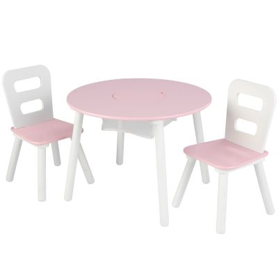 ensemble table avec rangement et 2 chaises rose