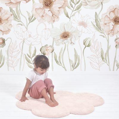 tapis nuage en coton rose clair 67 x 100 cm