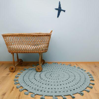 tapis lavable rond nila vert d eau 120 cm