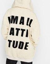 Manteau sherpa avec inscription
