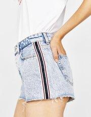 Short jean coupe mom vintage avec bande latérale