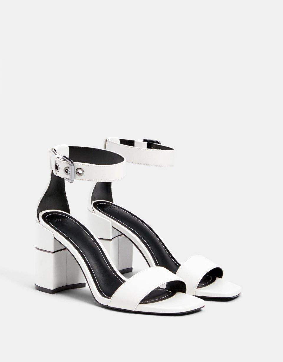 Sandales talon détail métallisé