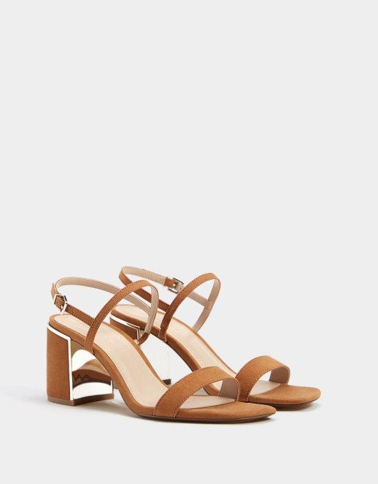High-heel sandals with metallic detail