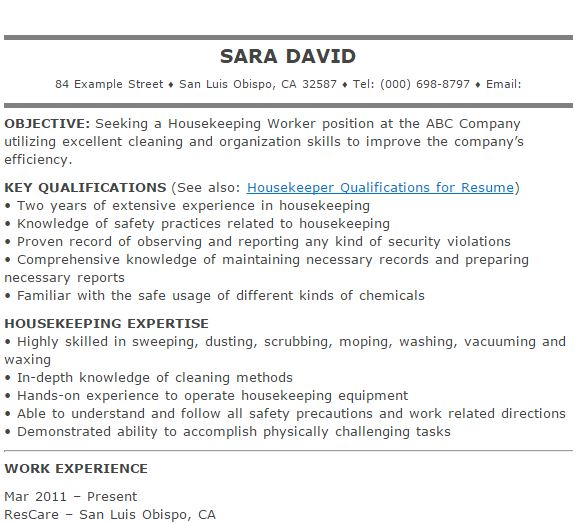 Resumes For Housekeeping. Resume Samples For Housekeeping Manager