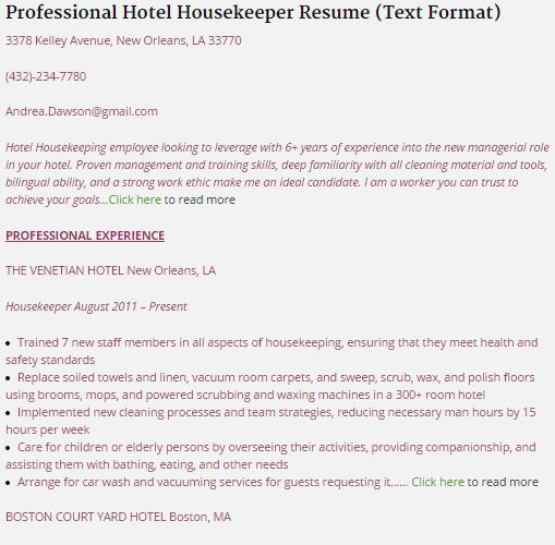 Resumes For Housekeeping. Creating A Nanny Resume