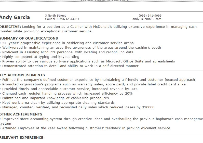 Cashier Sample Resume. Resume Examples Cashier Resume Sample