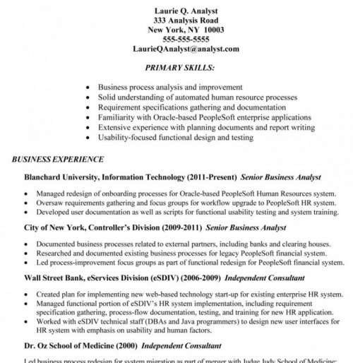 Sample Resume For Business Analyst In Banking Domain. Business