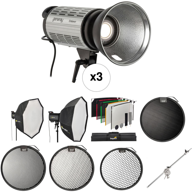 genaray 3 light led studio product kit