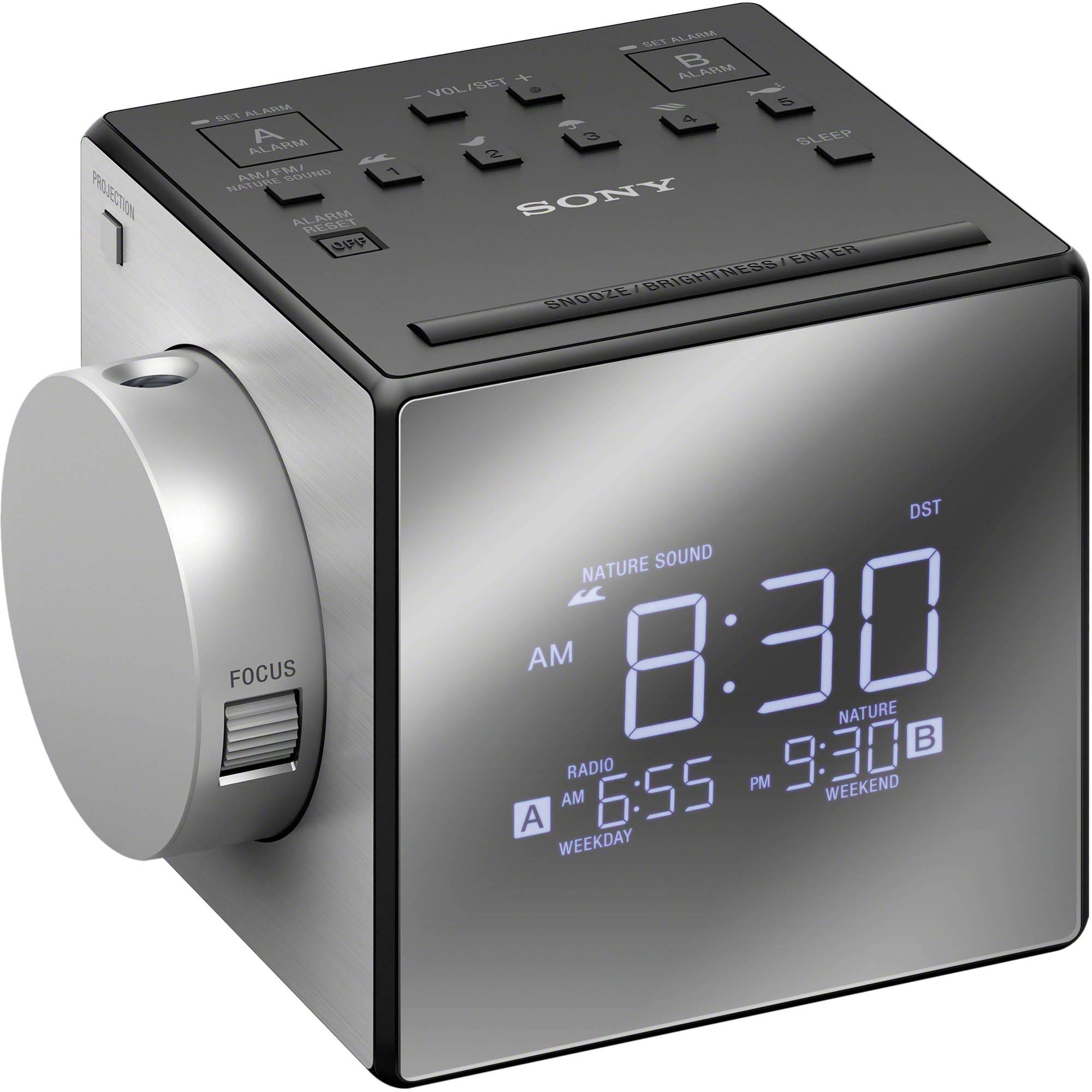 Sony Icf C1pj Alarm Clock Radio With Time Projecti Icfc1pj B H