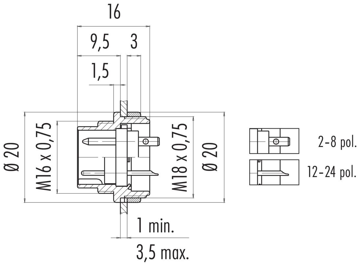 Male Panel Mount Connector Solder