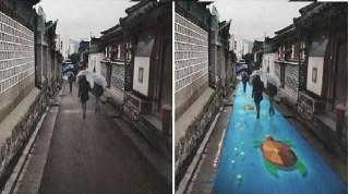 Arte con el agua en las calles de Seúl 3