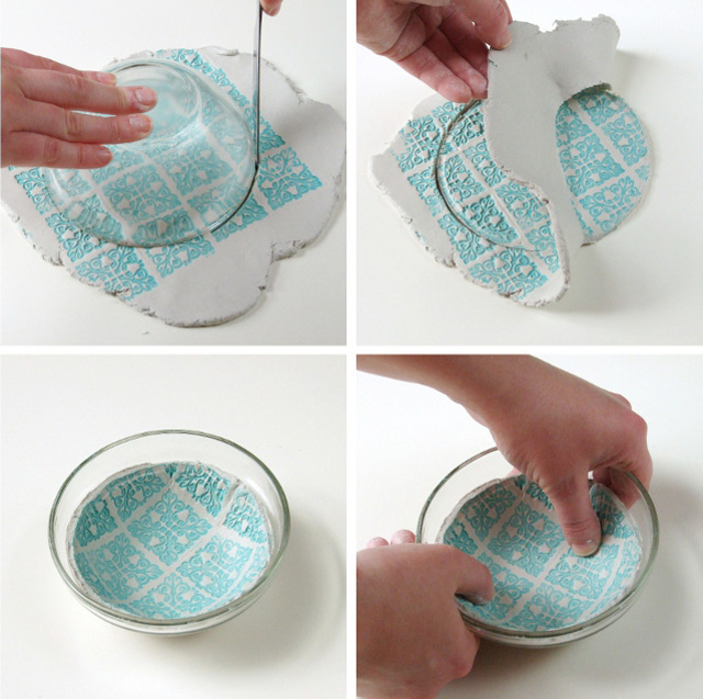 Lift your clay circle carefully and place it inside your bowl วางแผ่นดินลงในชาม