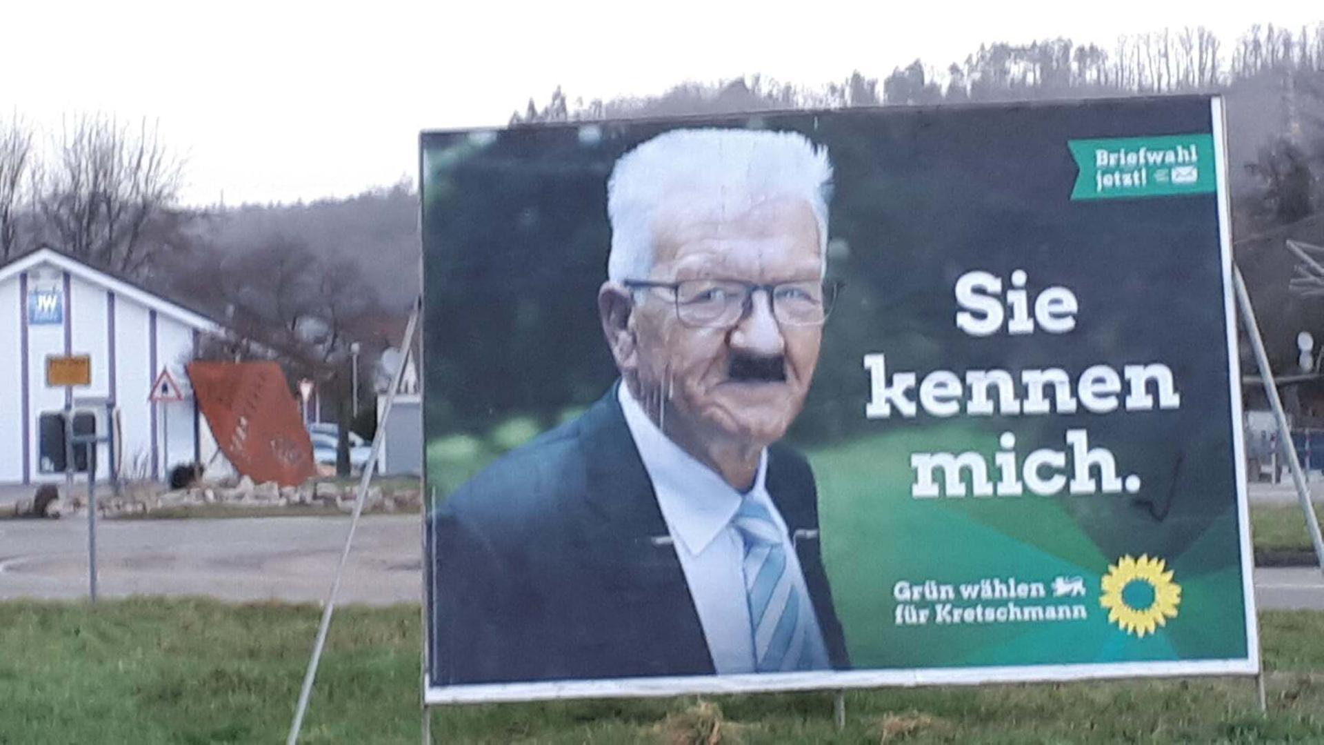 https bnn de mittelbaden gaggenau hitlerbart fuer kretschmann plakat diese vorfaelle gab es im wahlkampf im murgtal