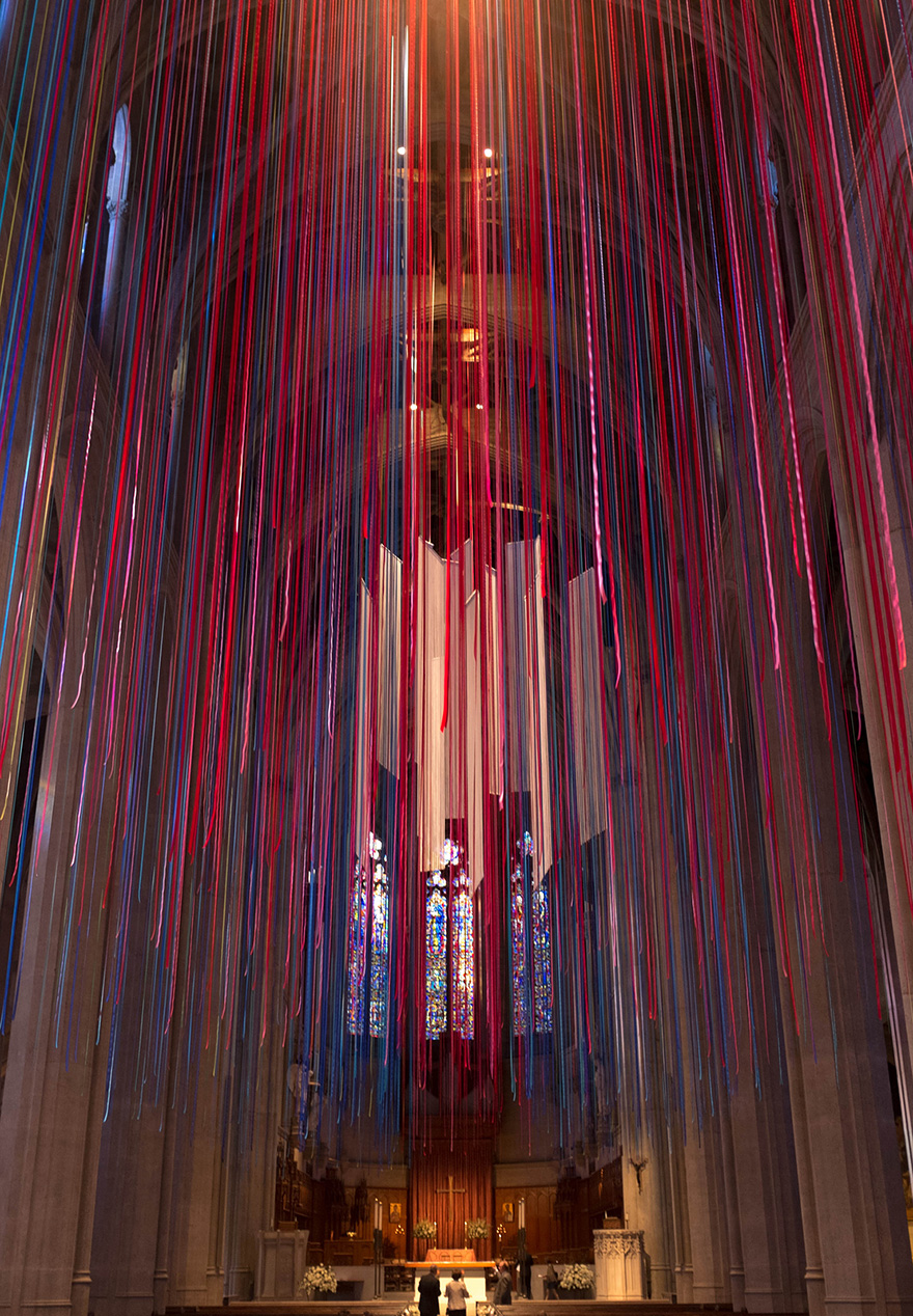 Artist Hangs 20 Miles Of Multicolored Ribbon Inside Grace Cathedral Bored Panda
