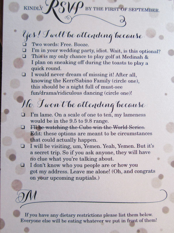 Funny Wedding Invitations Wording Examples Invitation Designed