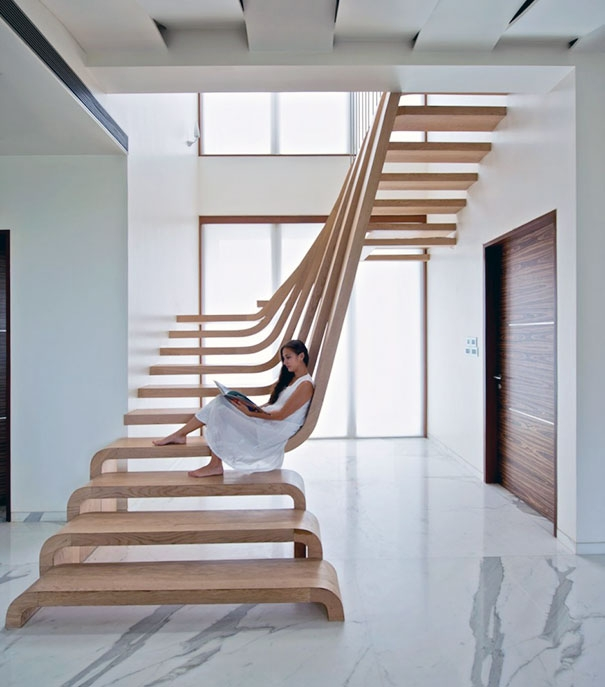 22 Beautiful Stairs That Will Make Climbing To The Second Floor | Stairs Style For Home | Creative | Inside | Spiral | Country Cottage | Living Room