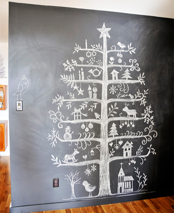 Christmas Tree Drawn On A Blackboard