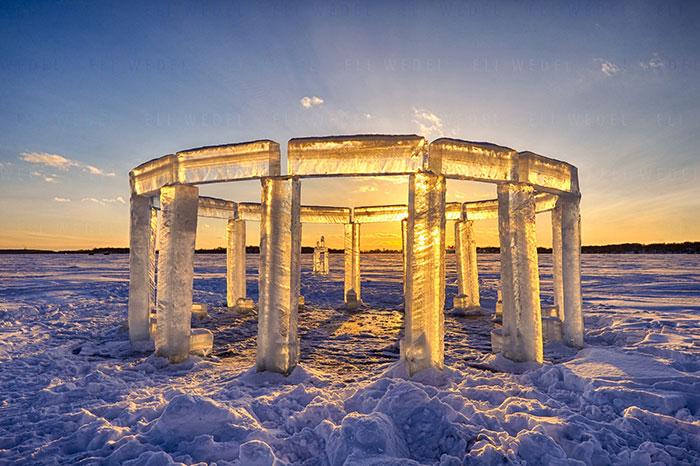 "Five Friends Build ""Icehenge"" In The Middle Of A Frozen Lake"