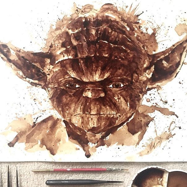 Coffee Art Yoda Portrait Maria Aristidou Star Wars The Force Fan Artwork