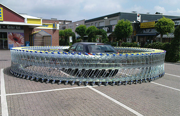 Create An Infinite Loop Of Shopping Carts Around Their Car