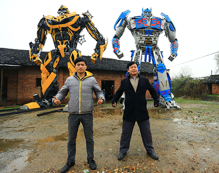 Farmer Dad And His Son Build Transformers From Scrap Metal In China And Make $160K A Year
