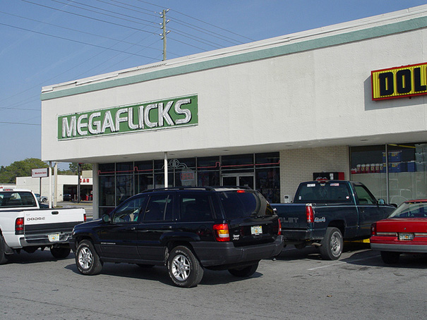 Sign Above The Megaflicks Store